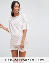 Asos All Over Spot Pajama Short Set
