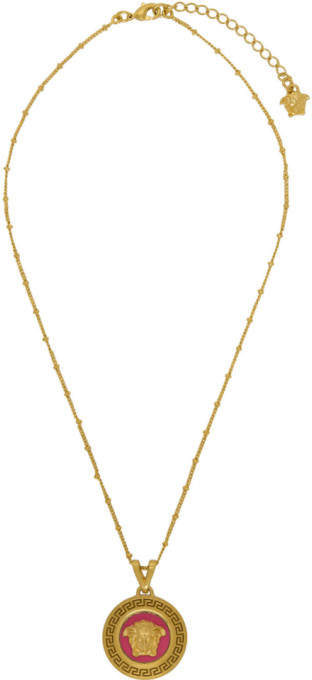 Versace Pink and Gold Medusa Pendant Necklace
