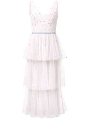 Marchesa Notte Sleeveless V-Neck Tulle Tea-Length Dress