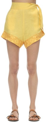 Carolina K. Sandy Embroidered Linen Shorts