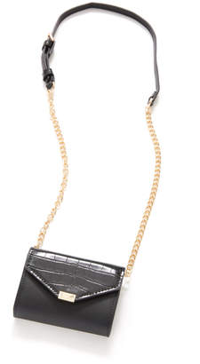 Urban Expressions Mini Croc Flap Envelope Crossbody Bag Black