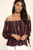 Lush Change the World Navy Blue Off-the-Shoulder Top