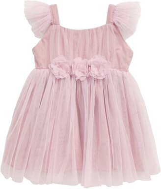 Popatu Tulle Flower Flutter Sleeve Dress