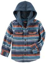 Osh Kosh Oshkosh Bgosh Boys 4-12 Flannel Plaid Hooded Shirt
