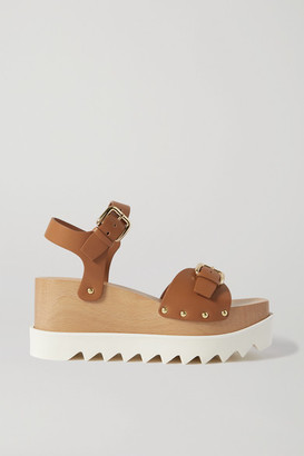 Stella McCartney Elyse Studded Vegetarian Leather Platform Sandals - Tan