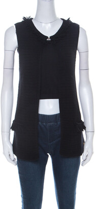 Carolina Herrera CH Black Chunky Knit Merino Wool Fringed Sleeveless Cardigan XS