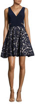 Xscape Evenings ?Damask-Applique Fit-and-Flare Dress