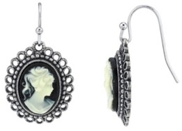 Downton Abbey Oval Cameo Wire Drop Earrings
