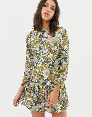 Love long sleve printed dress with peplum-Green