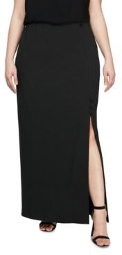 Alex Evenings Plus Size Long Column Skirt With Slit