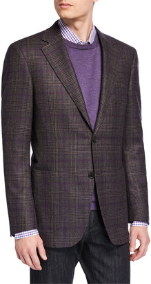Canali Men's Kei Lightweight Plaid Wool Sport Jacket