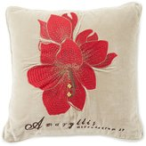 Southern Living Holiday Lux Collection Embroidered Amaryllis Velvet Pillow