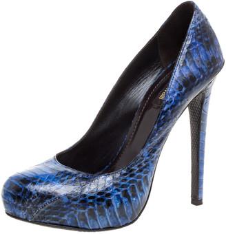 Roberto Cavalli Blue/Black Python Embossed Leather Platform Pumps Size 37
