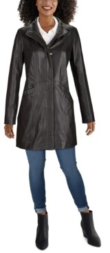 Cole Haan Wing-Collar Leather Jacket