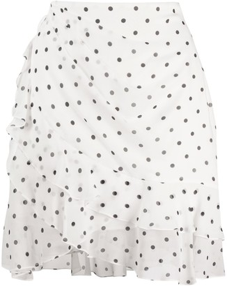 Balmain polka-dot ruffled mini skirt