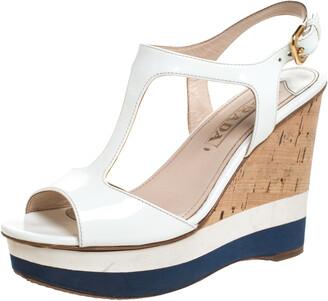 Prada Off White Patent Leather T-Strap Cork Wedge Platform Sandals Size 37.5