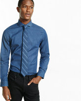 Express slim fit stretch dark wash denim dress shirt