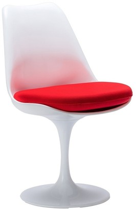 Overstock Tulip armless chair, made of plastic seat and Upholstered, Chair swivels 360A, Set of 4