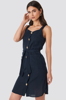 Trendyol Belted Button Detailed Mini Dress Blue
