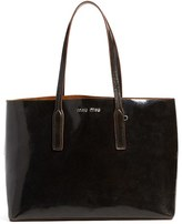 Miu Miu 'Craquele' Calfskin Leather Shopper - Black