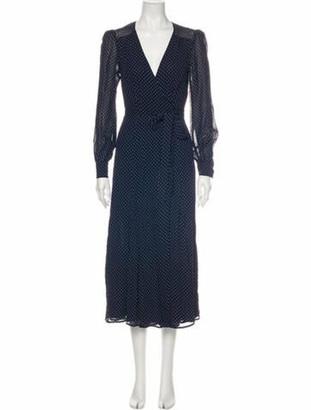 Reformation Polka Dot Print Long Dress Blue