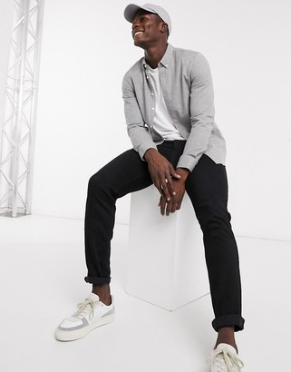 Farah Minshell slim fit flannel shirt in light gray