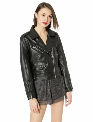Blank NYC Women's VEGAN LEATHER MOTO JACKET Outerwear Black-going in circles M