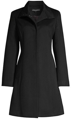 Sofia Cashmere Funnel-Neck Wool-Blend Coat