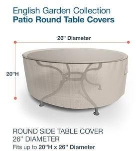 Budge Waterproof Outdoor Round Patio Table Cover, English Garden, Tan Tweed, Multiple Sizes