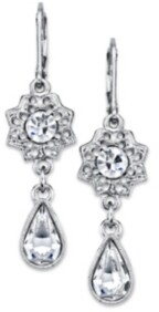 2028 Silver-Tone Crystal Floral Teardrop Earrings
