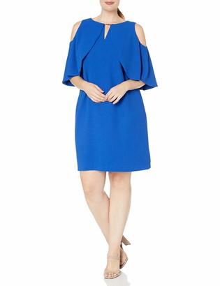 London Times Women's Cold Shoulder Round Neck Crepe Shift Dress w. Keyhole