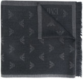 Emporio Armani logo jacquard scarf - men - Leather/Wool - One Size