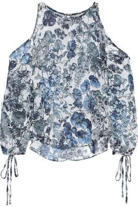 Bailey 44 Cutout Floral-print Crinkled-georgette Blouse