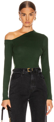Enza Costa Angled Exposed Shoulder Long Sleeve Top in Evergreen | FWRD