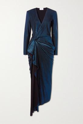 Redemption Asymmetric Draped Lame Dress - Blue