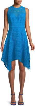 Theia Novelty Guipure Lace Handkerchief-Hem Dress