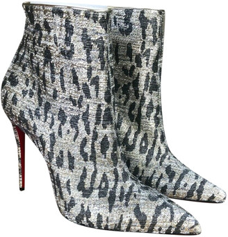 Christian Louboutin So Kate Booty Silver Cloth Ankle boots