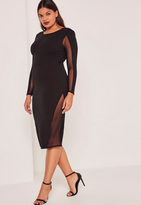 Missguided Plus Size Black Mesh Panels Midi Dress