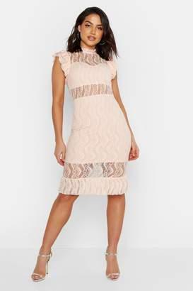 boohoo All Over Lace Short Sleeve Midi Dress