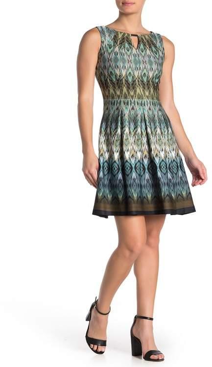 Gabby Skye Ikat Fit & Flare Mini Dress