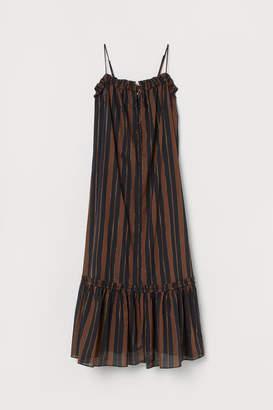 H&M Flounced Cotton Dress - Black