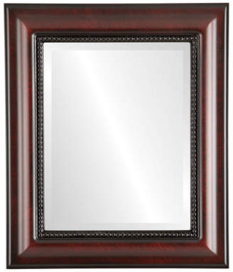 """The Oval And Round Mirror Store Heritage Framed Rectangle Mirror in Vintage Cherry, 25""""x35"""""""