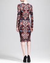 Alexander McQueen Long-Sleeve Stained Glass Jersey Dress