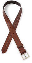 Lands' End Women's Plus Size Leather Single Perforated Belt-Papaya