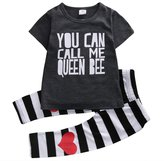 "Magical Baby Little Girls ""You can call me queen bee"" T-shirt and Striped Pants Outfit"