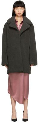 Yves Salomon Meteo Green Curly Merino Shearling Short Coat