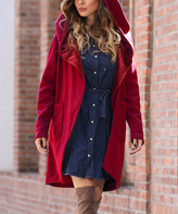 Z Avenue Women's Open Cardigans Burgundy - Burgundy Hooded Velvet Lined Cardigan - Women & Plus