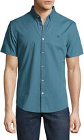 Original Penguin Check-Print Button-Front Short-Sleeve Shirt, Blue