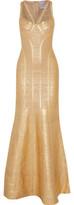 Herve Leger Gabriela Fluted Metallic Bandage Gown