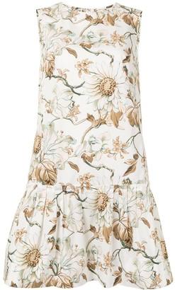 Oscar de la Renta Floral-Print Peplum-Hem Dress